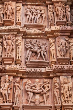 Temple detail at Khajuraho India famed for its 1000 year old erotic carvings and sculptures