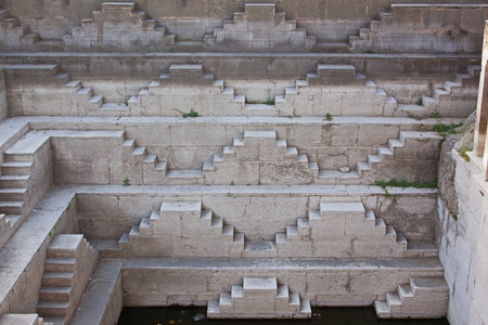 Four hundred year old step well in the village of Anjana in Rajasthan India