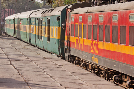 distinctive: Passenger carriages displaying the distinctive livery of the Northern division of Indian railways in New Delhi Editorial