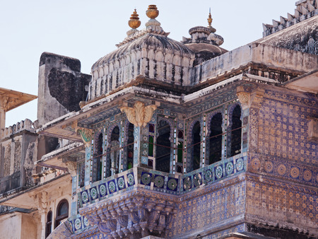 decorative balconies: Blue balcony in the City palace at Udaipur India Editorial