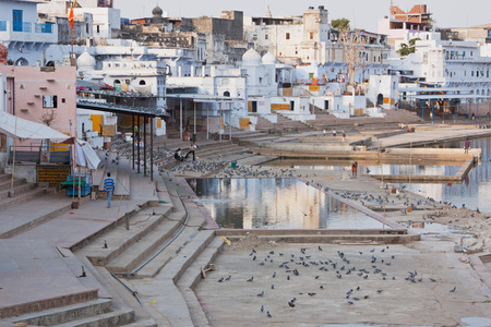 hallowed: Ghats at the lakeside at Pushkar a place of Hindu pilgrimage Stock Photo