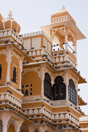 roosting: Flocks of birds roosting on the jharokhas, or overhanging balconies, of the 17th century palace at Deogarh, Rajasthan Editorial
