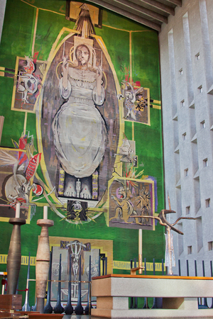 backcloth: COVENTRY, ENGLAND  Sept 28, 2015: The immense backcloth to the high altar of the cathedral Editorial