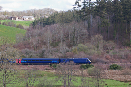 long haul journey: Inter city train travelling through Devon UK