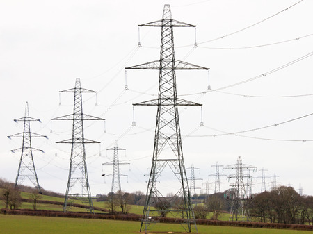 megawatt: Electricity pylons criss crossing Devon farmland