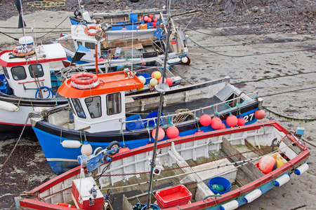 crustacean: Fishing boats moored at low tide in west Cornwall. The crustacean and white fish catches play a vital part in the local economy