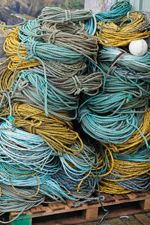 Coils of rope on an English quayside Stock Photo