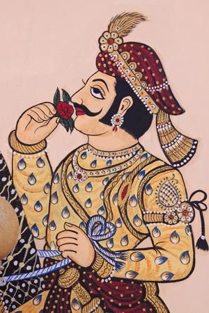 UDAIPUR, INDIA – MARCH 5, 2015: Detail from wall art in the City Palace in Udaipur, India, which dates from the 16th century