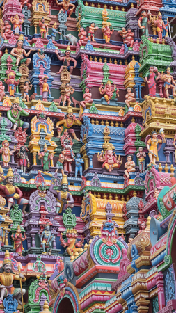 Detail from a Gopuram, or entrance tower, at a Hindu temple in Tamil Nadu state
