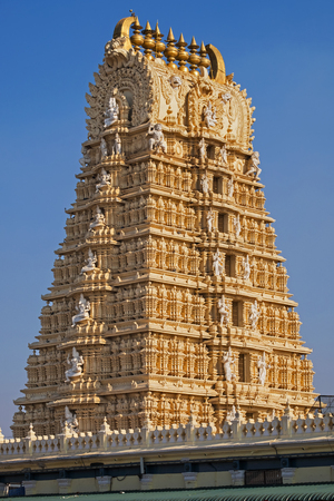 The intricately carved Gopuram, or gateway, to the Shri Chanundeshwari temple near Mysore. It is dedicated to the Hindu deity Durga and can be accessed by climbing 1,000 steps