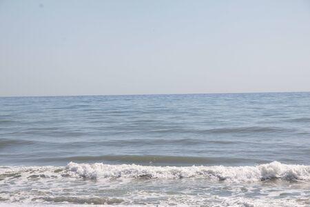 View beautiful beach of Torremolinos, Spain.