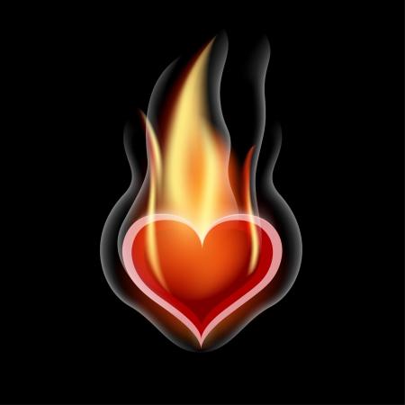 Burning Heart  Illustration for design on black background Vector