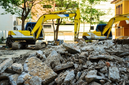 Concrete Crusher demolishing reinforced concrete structures Stock Photo - 18001719