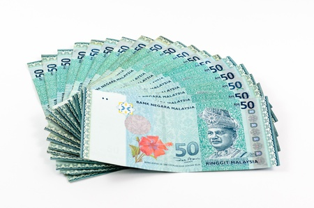 malaysian currency - RM50 isolated on white background photo