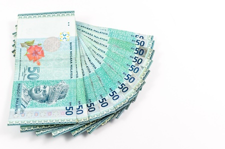 financial stability: malaysian currency - RM50 isolated on white background Stock Photo