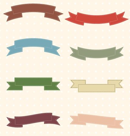 Set of retro vintage ribbons. Vector illustration. Stock Vector - 18385544