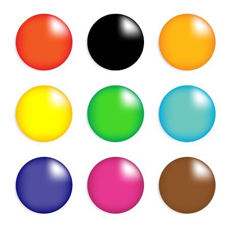 Collection of colorful glossy spheres isolated on white  vector design  Vector