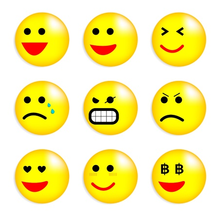 grimace: Vector illustration set of cool smile-balls  All elements are grouped