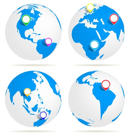 waypoint: world with map pin  vector design  illustrator   Illustration