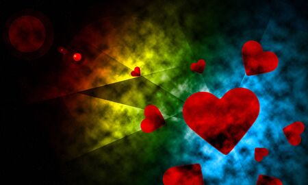 conceiving: Space lighting with heart abstract background  illustration wallpaper