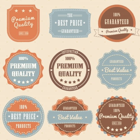 Set of vintage high premium quality badges and labels. vector eps10 Vector