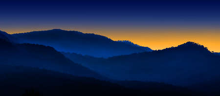 Blue mountains layers during sunset ,Chiang Mai , Thailand photo