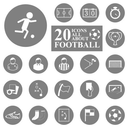 20 Icons all about football soccer set  Illustration eps10 Vector