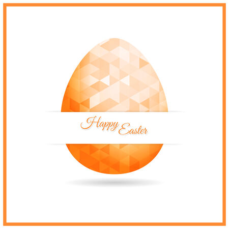 Easter egg with triangle pattern and Happy easter label  Vector