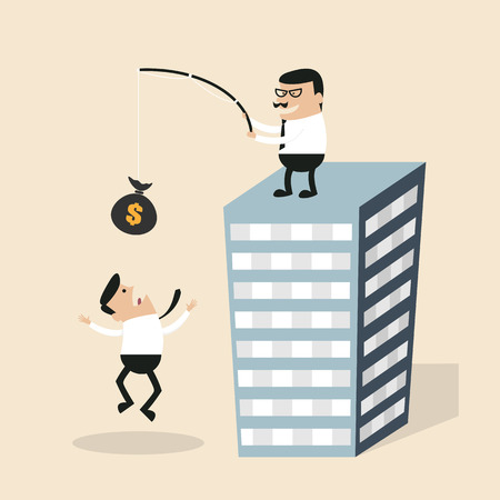 Businessman chasing money with angry boss on the tower, eps10 vector Vector