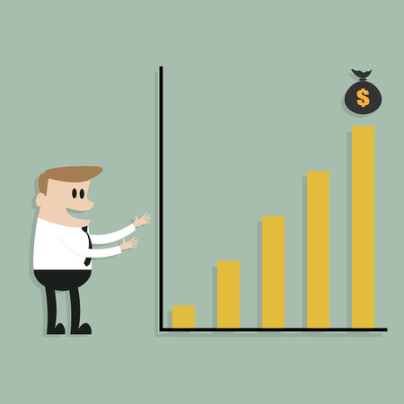 Businessman shows to chart of profit, Business concept  vector eps10  Vector