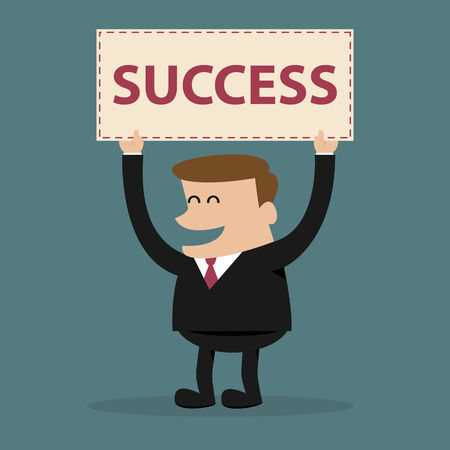 Happy businessman holds a sign with SUCCESS text.Business concept.  Vector