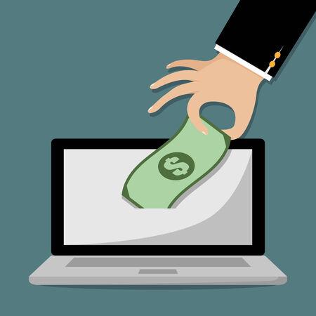 pick money: Mano de empresario recoger el dinero de la computadora port�til