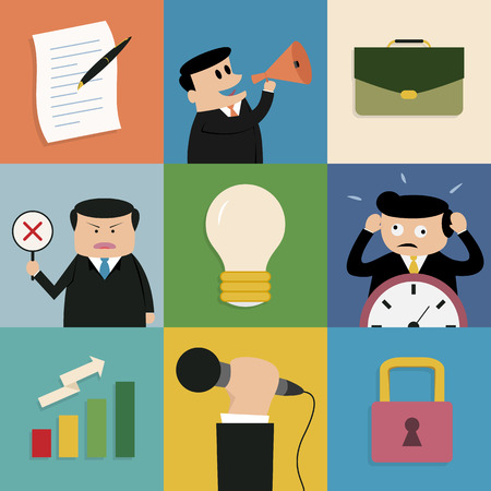 Icon set of business concept in flat design with shadow, vector eps10  Vector
