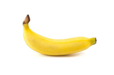 Natural single banana isolated on white background. photo