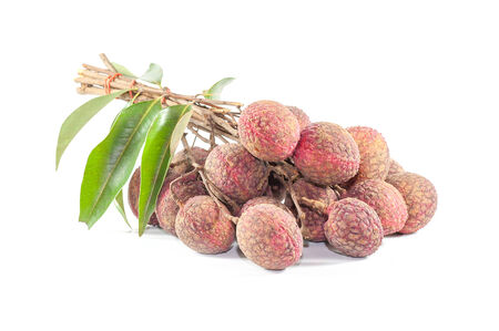 lychees: fresh lychees isolated on white