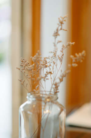 dry flower home  decoration in warn tone and selective shallow depth of field. photo