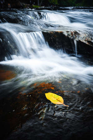 Beautiful deep rock and waterfall nature wallpaper photo
