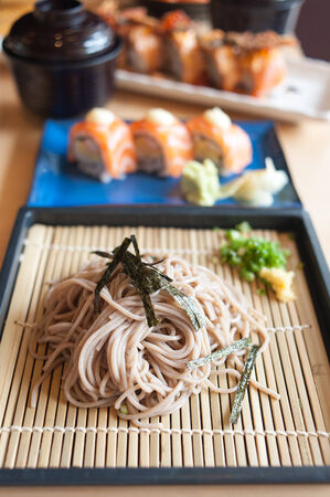 Zaru Ramen Japanese Noodle on wooden background table photo