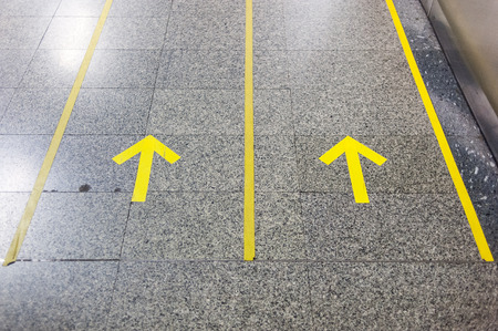 Range to target visually impaired to access to subway stairs in Bangkok subway station photo