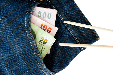 expensive food: Some expensive food can steal money form your pocket of jeans Stock Photo