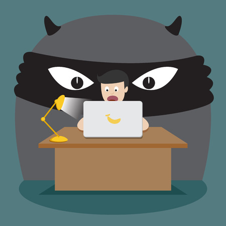 Cyber Crime Scene. Hacker, Internet Security and Crime Concept. Flat Design Vector Illustration. Illustration