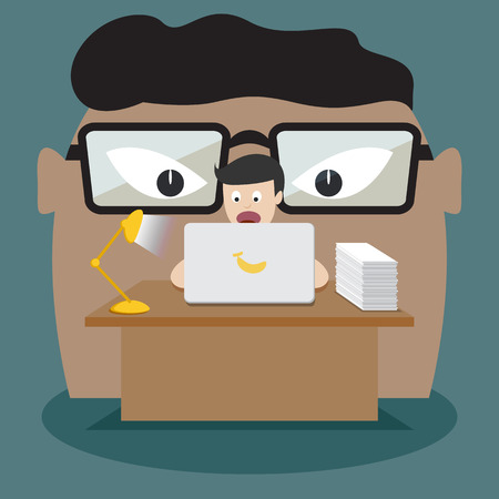 hardworking: A hard-working business man is at the computer with his boss behind him. Cartoon character. flat design vector illustration.