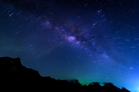sam: Milky Way Galaxy and Stars Trail in Night Sky from Khao Sam Roi Yod National Park, Thailand