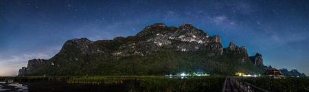 Milky Way Galaxy and Stars in Night Sky from Khao Sam Roi Yod National Park, Thailand photo