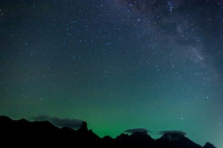 Milky Way Galaxy and Stars in Night Sky from Khao Sam Roi Yod National Park, Thailand