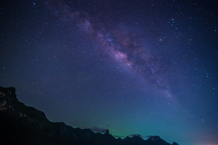 long night: Milky Way Galaxy and Stars in Night Sky from Khao Sam Roi Yod National Park, Thailand