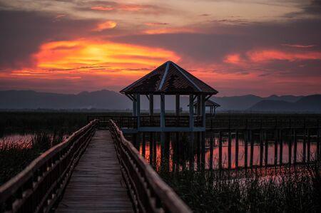 floating bridge: Beautiful Sunset at Sam Roi Yod National Park, Thailand.