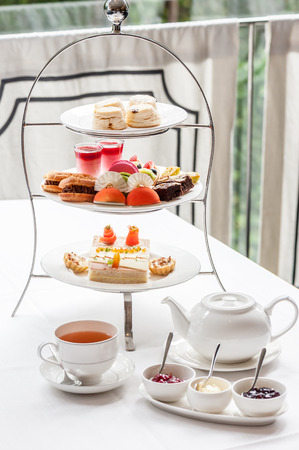 trays: Traditional English afternoon tea Stock Photo