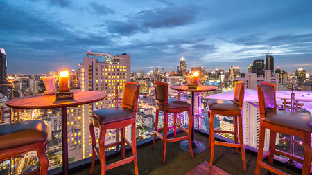pulsating: BANGKOK, THAILAND - June 3: View from the top of Above Eleven rooftop bar & restaurant on June 3, 2015 in Bangkok, Thailand. Above Eleven is a rooftop bar & restaurant on the 33 rd floor of the Fraser Suites Sukhumvit in Sukhumvit's pulsating Soi 11. Editorial