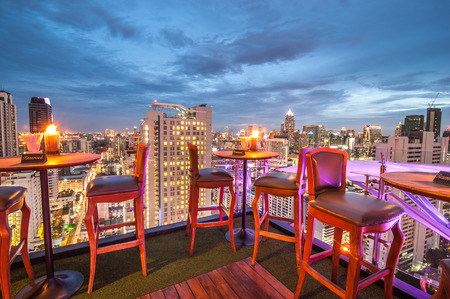 BANGKOK, THAILAND - June 3: View from the top of Above Eleven rooftop bar & restaurant on June 3, 2015 in Bangkok, Thailand. Above Eleven is a rooftop bar & restaurant on the 33 rd floor of the Fraser Suites Sukhumvit in Sukhumvit's pulsating Soi 11. Editorial